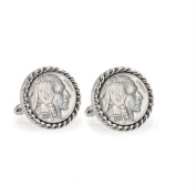 UPM Global LLC 12700 Buffalo Nickel Silvertone Rope Bezel Cuff Links