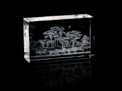 Asfour Crystal 1168-100-130 2.4 L x 4 H x 1.4 W in. Crystal Laser-Engraved Horses Animals and Nature Laser-Cut