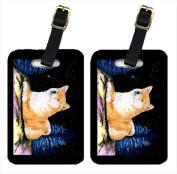 Carolines Treasures SS8445BT Starry Night Shiba Inu Luggage Tags - Pair Of 2