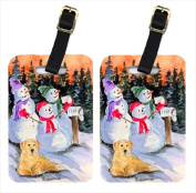 Carolines Treasures SS8989BT Snowman With Golden Retriever Luggage Tag - Pair 2 10cm x 7cm . Pair Of 2