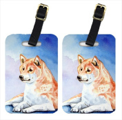 Carolines Treasures 7135BT Red And White Shiba Inu Luggage Tags Pack - 2