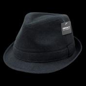 Decky 555-BLK-BLK-06 Melton Fedora Hat Black & Black - Small & Medium
