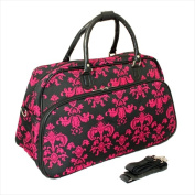 All-Seasons 812014-631 50cm . Damask Carry-On Shoulder Tote Duffel Bag Black & Pink