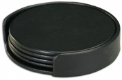 Dacasso Limited A1018 Classic Black Leatherette 4 Coaster Set With Holder