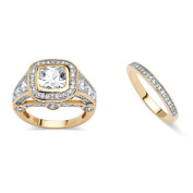 PalmBeach Jewellery 5379610 2 Piece 4.67 TCW Cubic Zirconia Bridal Ring Set 18k Gold-Plated - Size 10