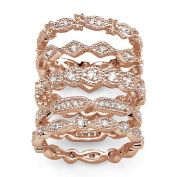PalmBeach Jewellery 535088 1.55 TCW Cubic Zirconia 5 Piece Eternity Band Set in Rose Gold-Plated - Size 8