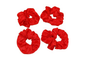 GIZZY® Ladies, Girls Set of 4 Red Satin Elasticated Hair Scrunchies.