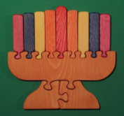 THE PUZZLE-MAN TOYS W-1223 Wooden Educational Jig Saw Puzzle - Jewish Menorah - A Candelabra