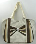 International Wholesale Gifts 049-43068 Brown Stripe Straw Bag