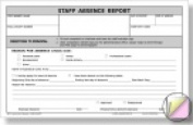 Hammond And Stephens 13cm x 20cm . Carbonless Staff Absence Report Form White Canary Pink Pack - 100