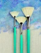 Sax White Bristle Long Handle Fan Blender Set Set 3