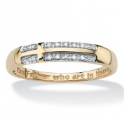 PalmBeach Jewellery 4926611 Mens Diamond Accent 10k Yellow Gold Religious Cross Lords Prayer Wedding Band Ring Size 11