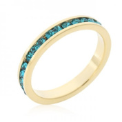 Icon Bijoux R01147G-V39-09 . Stackables Turquoise Crystal Gold Ring (Size