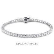 Diamond Traces D-SB854-300-1040 14K White Gold 4-Prong Setting 3.00 Carat Total Natural Diamonds Square Head Tennis Bracelet