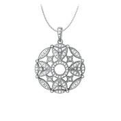 Fine Jewellery Vault UBNPD32369W14CZ 2.50 Carat Total Cubic Zirconia in 14K White Gold Floral Circle Fashion Pendant