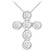 Fine Jewellery Vault UBNPD30912AGCZ April Birthstone Cubic Zirconia Cross Pendant in 925 Sterling Silver