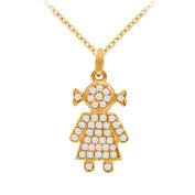Fine Jewellery Vault UBNPD32223Y14D 14K Yellow Gold Diamonds Baby Doll Pendant Necklace 0.25 CT TDW