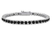 Fine Jewellery Vault UBBR14WRD1311000BD Black Diamond Tennis Bracelet with 10 CT Black Diamonds