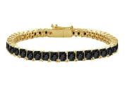Fine Jewellery Vault UBBR14YSQPR700BD Black Diamond Tennis Bracelet with 7 CT Black Diamonds