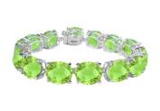 Fine Jewellery Vault UBBR108W14PR 14K White Gold Prong Set Oval Peridot Bracelet with 50 CT TGW