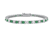 Fine Jewellery Vault UBUBR10WRD131200CZE Created Emerald and Cubic Zirconia Prong Set 10K White Gold Tennis Bracelet 2 CT TGW