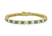 Fine Jewellery Vault UBUBRAGVYRD1311000CZE Created Emerald and Cubic Zirconia Tennis Bracelet in 18K Yellow Gold Vermeil.10CT. TGW. 18cm .