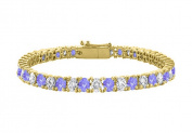 Fine Jewellery Vault UBUBRAGVYRD1311000CZTZ Tanzanite Created and Cubic Zirconia Tennis Bracelet in 18K Yellow Gold Vermeil. 10CT TGW 18cm .