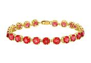 Fine Jewellery Vault UBUBR55Y14R 14K Yellow Gold Prong Set Round Ruby Bracelet 12 CT TGW July Birthstone Jewellery