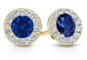 Fine Jewellery Vault UBUERBK200Y14CZS Created Sapphire and CZ Halo Stud Earrings in 14K Yellow Gold 2.ct.tw