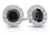Fine Jewellery Vault UBERBK200AGCZBOX Onyx and CZ Halo Stud Earrings in Sterling Silver 2.ct.tw