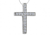 Fine Jewellery Vault UBPDR904W14D Diamond Cross Pendant Necklace in 14K White Gold 0.15 CT TDW
