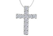 Fine Jewellery Vault UBPDR956W14D Diamond Cross of Religious Necklace in White Gold 14K with 0.33 Carat Diamonds