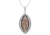 Fine Jewellery Vault UBPDS85645AGSQ 925 Sterling Silver Rope Design with Marquise Smoky Quartz 18 in. Necklace 20 x10 mm.