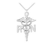 Fine Jewellery Vault UBNPD30168AG Registered Nurse Award Necklace in 925 Sterling SilverOctober Appreciation Month