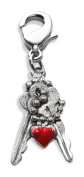 Whimsical Gifts 2380S Keys with Heart Charm Dangle in Silver