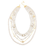 C Jewellery Gold-Tone Five Row Pearls And Crystal Necklace
