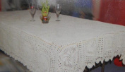 Tapestry Trading GL-29W70 180cm . Handmade Indian Crochet Table Cloth White