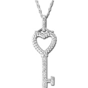 Luis Creations PASS094 0.02 Ct. Diamond Heart Sterling Silver Key Pendant With 46cm . Chain
