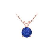 Fine Jewellery Vault UBUPD14P4RD100S 14K Rose Gold Prong Set Created Sapphire Solitaire Pendant 1.00 CT TGW
