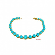 Fine Jewellery Vault UBUBRBK7205Y14BT December Birthstone Blue Topaz Graduated Bead Necklace in 14K Yellow Gold 15 CT TGW