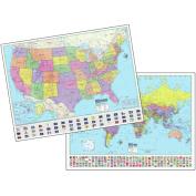 Universal Map 29822 120cm x 90cm Advanced Us World Political Lam.- Rolled Maps