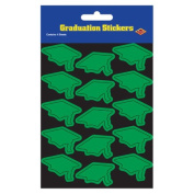 Beistle 54055-G Grad Cap Stickers Green - Pack Of 12