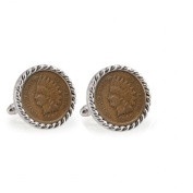 UPM Global LLC 12709 Indian Head Penny Silvertone Rope Bezel Cuff Links