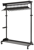 Alba PMRAK-AT48N Anti-Theft Mobile Garment Rack in Black 17 Anti-theft coat hangers 8 hooks and an integrated Umbrella holder