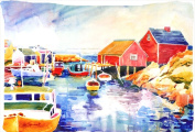 Carolines Treasures 6059PILLOWCASE 50cm x 80cm . Boats At Harbour With A View Moisture Wicking Fabric Standard Pillowcase