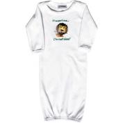 Lil Cub Hub 1WLSOGL-36 White Long Sleeve Gown - Lion 3-6 months