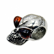 Sterling Silver Natural Baltic Amber Skull Bead For Charm Bracelets
