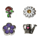 Flower - Gardener set 4 Floating charms - Watering Can, Daisy, Rose and Purple Flower