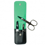 Pfeilring Maniküretui, black nappa leather lining, green, 3-Piece Mounting