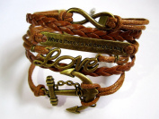 Nautical Style Multistrand Bracelet Retro Anchor Infinity Love Charm with Brown Rope and Braid Bracelet